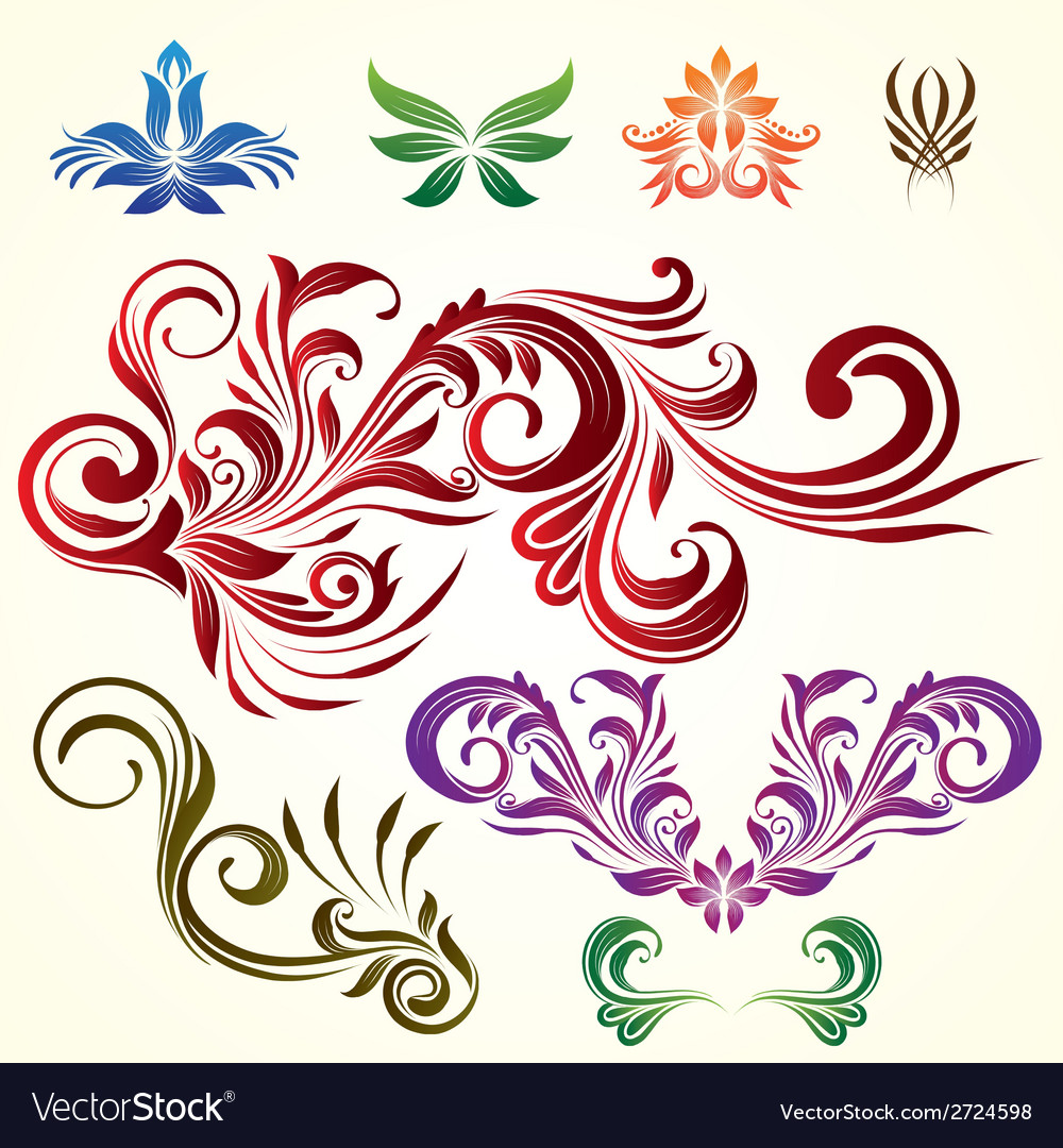 Floral ornamental elements vector | Price: 1 Credit (USD $1)