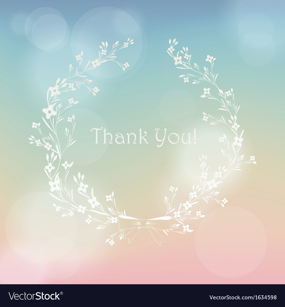Floral wreath frame thank you card vector | Price: 1 Credit (USD $1)