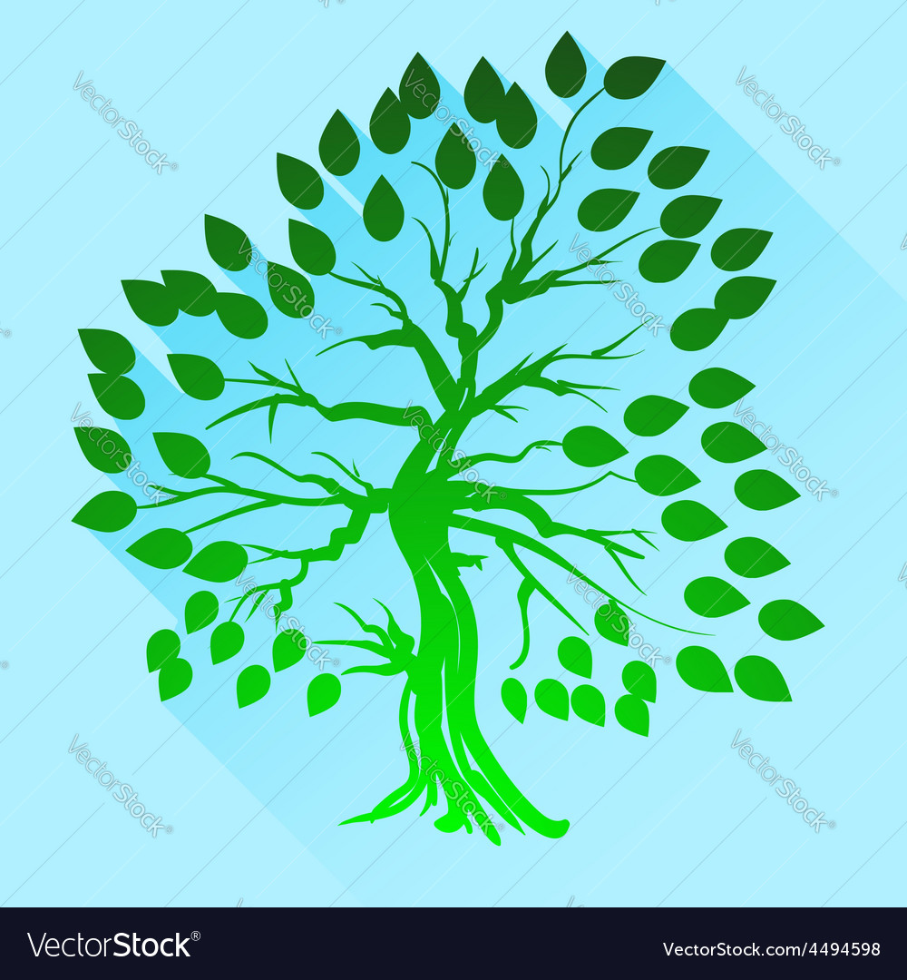 Green tree silhouette vector | Price: 1 Credit (USD $1)