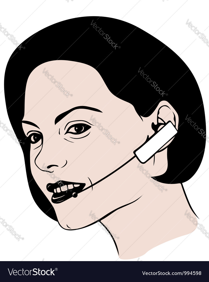 Lady talking on headphone vector | Price: 1 Credit (USD $1)