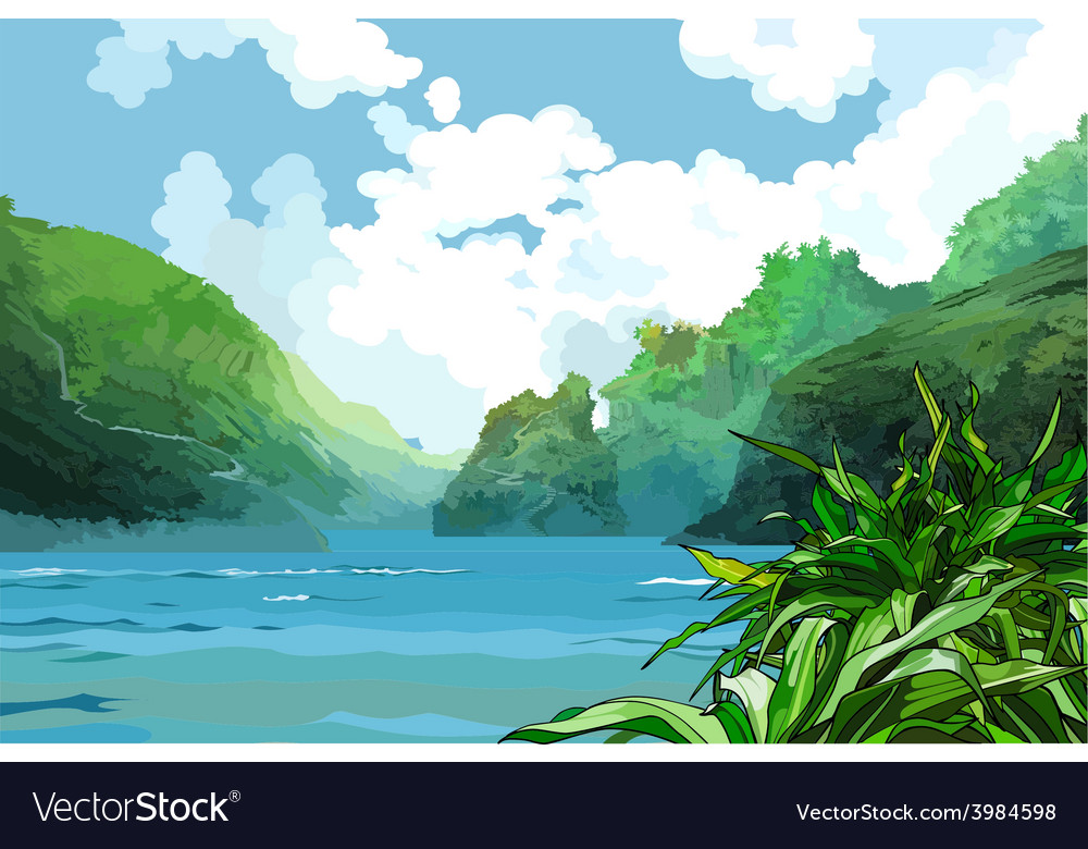 Landscape beautiful bay among green mountains vector | Price: 3 Credit (USD $3)