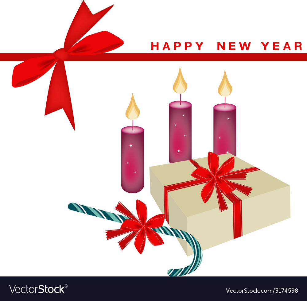 New year card with candle and gift boxes vector | Price: 1 Credit (USD $1)