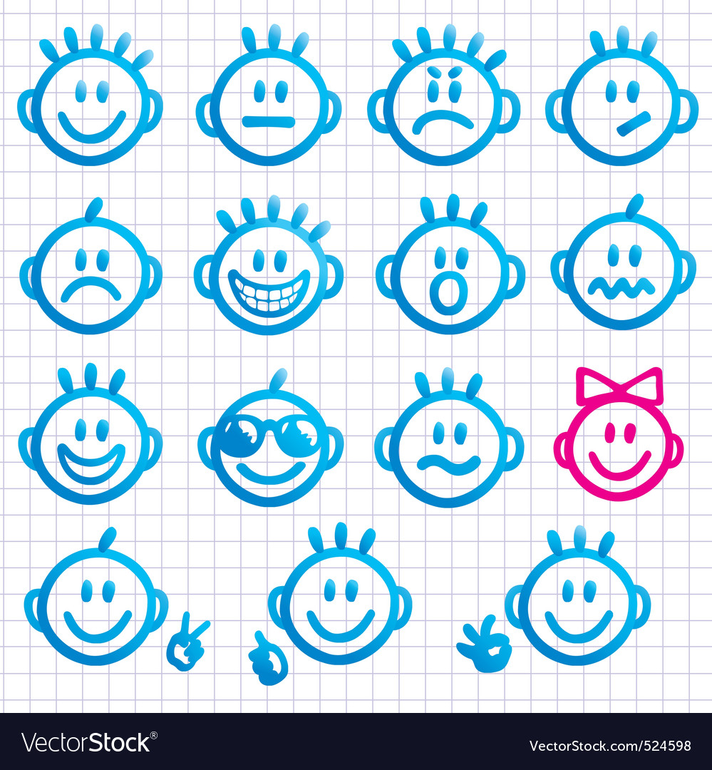 Set of faces with various emot vector | Price: 1 Credit (USD $1)