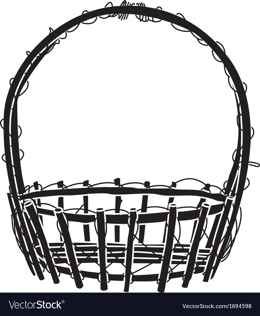 Wicker basket silhouette vector | Price: 1 Credit (USD $1)