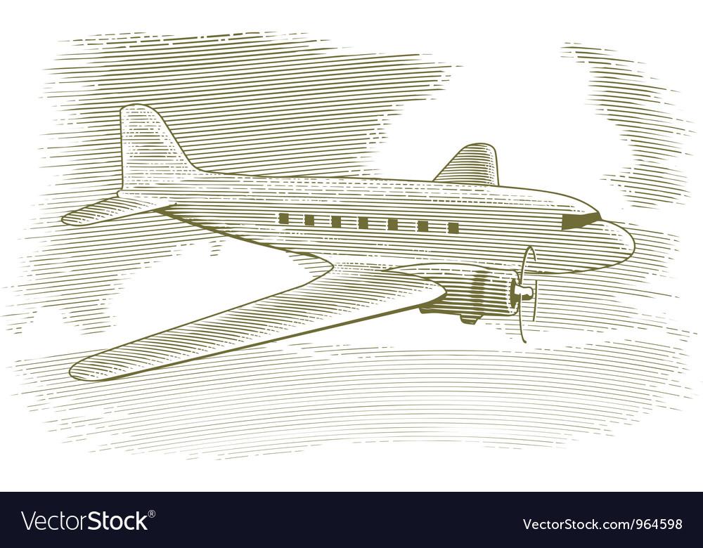 Woodcut vintage airplane vector | Price: 1 Credit (USD $1)