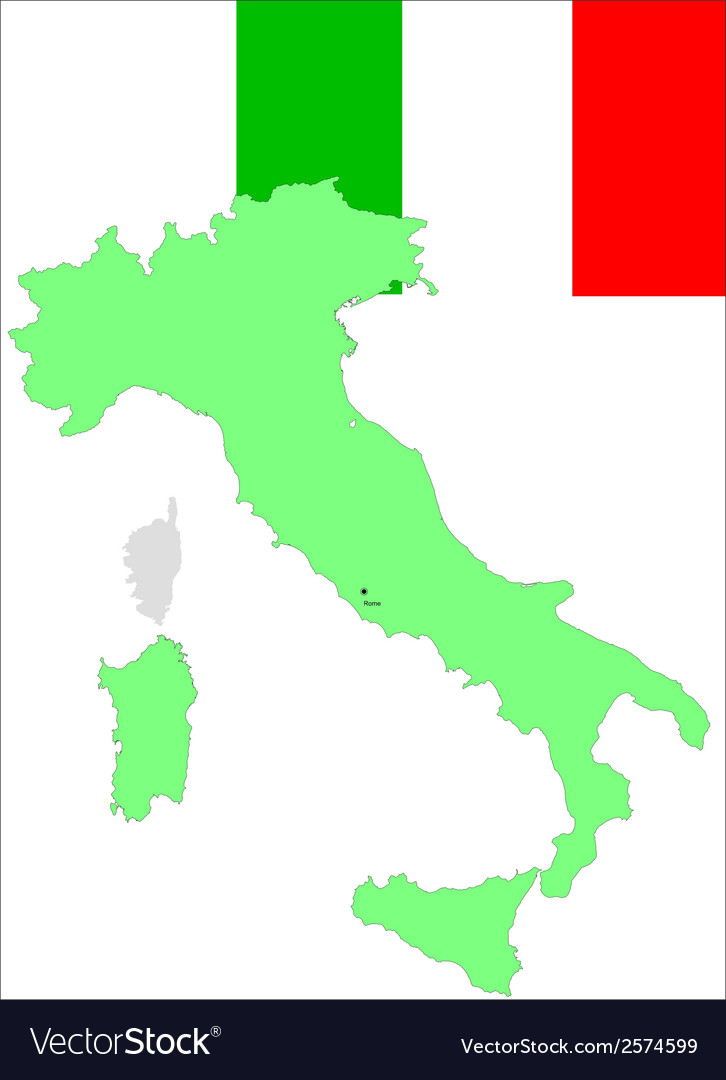 6203 italy map and flag vector | Price: 1 Credit (USD $1)