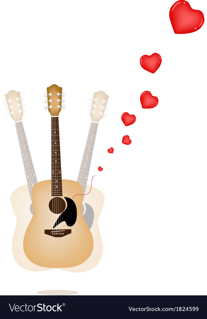 A beautiful guitar playing a love song vector | Price: 1 Credit (USD $1)