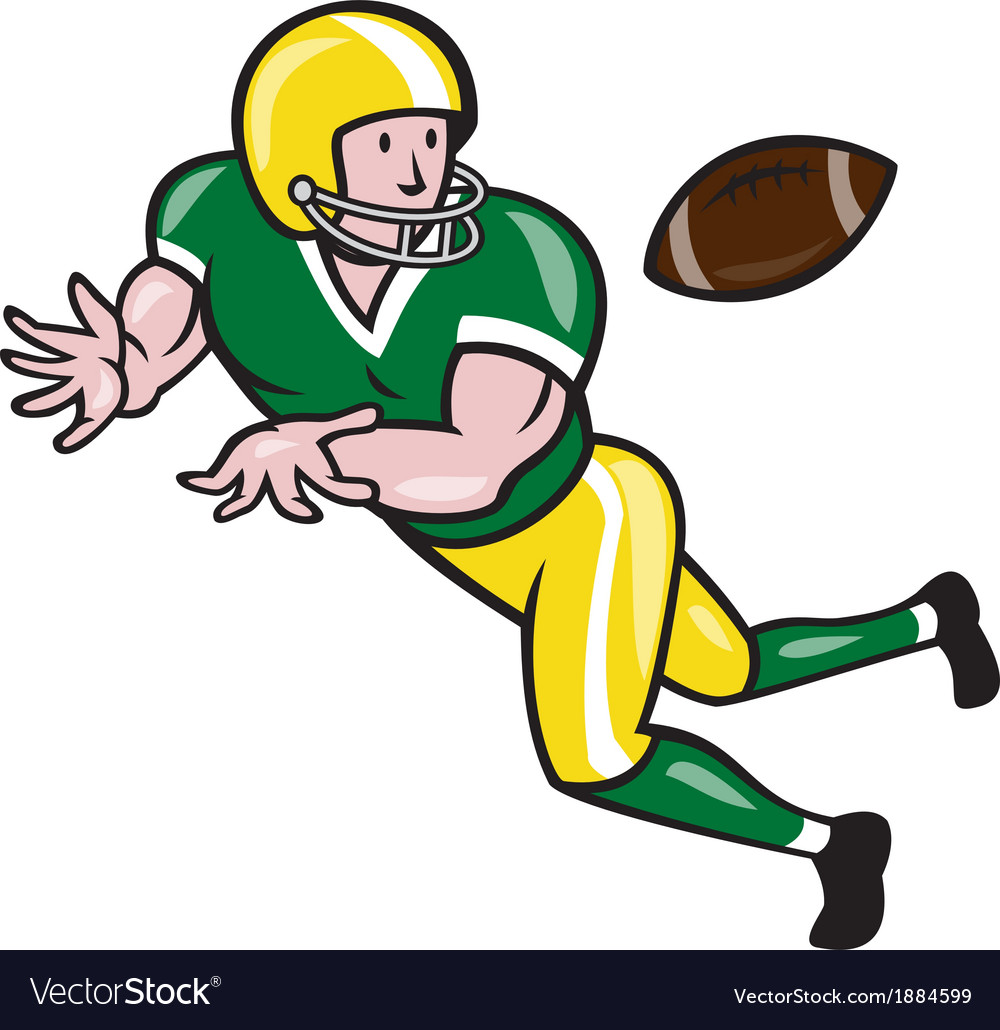 American football wide receiver catch ball cartoon vector | Price: 1 Credit (USD $1)
