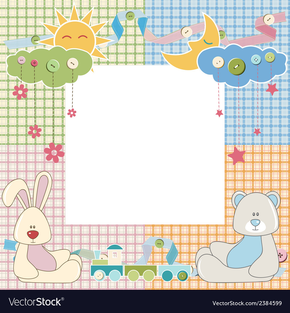 Baby frame or card with rabbit and bear vector | Price: 1 Credit (USD $1)