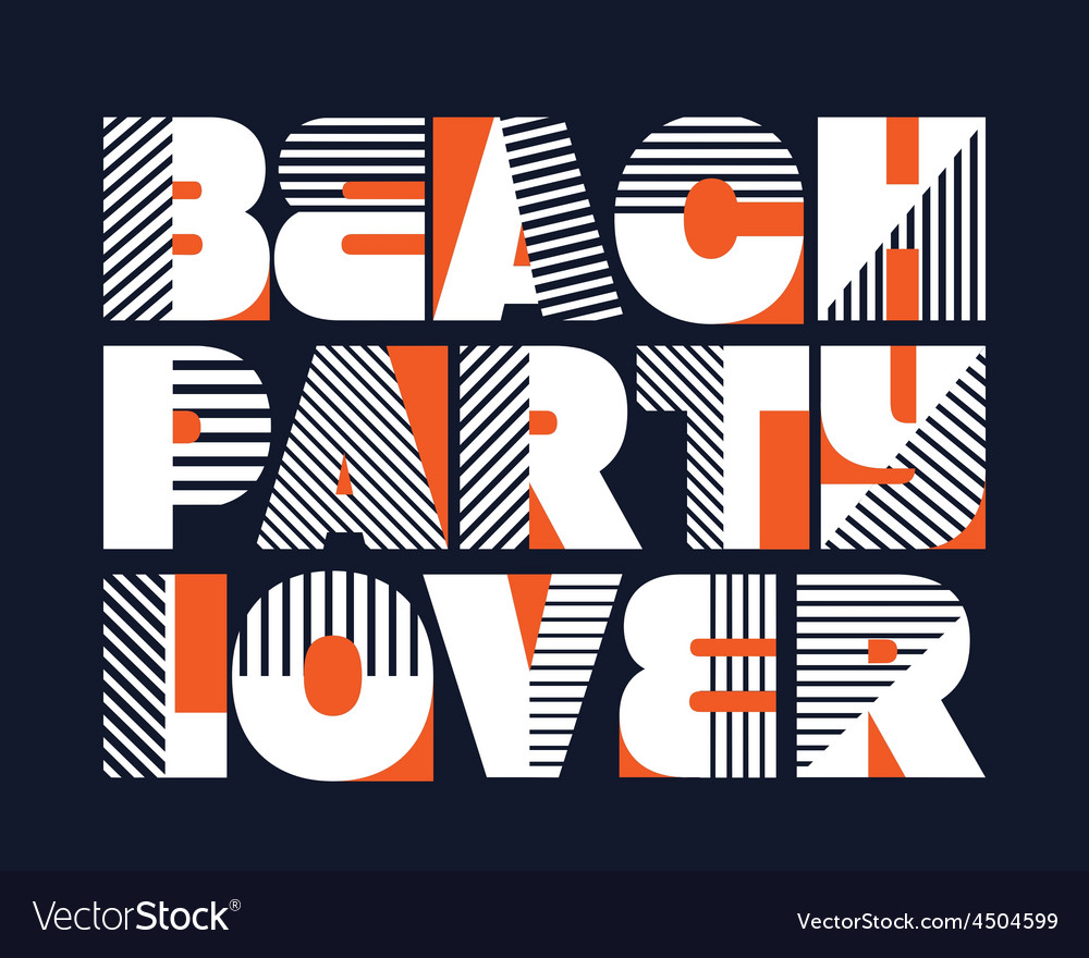 Beach party lover t-shirt typography vector | Price: 1 Credit (USD $1)