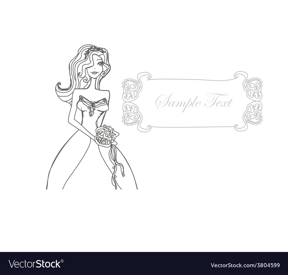 Beautiful bride doodle card vector | Price: 1 Credit (USD $1)