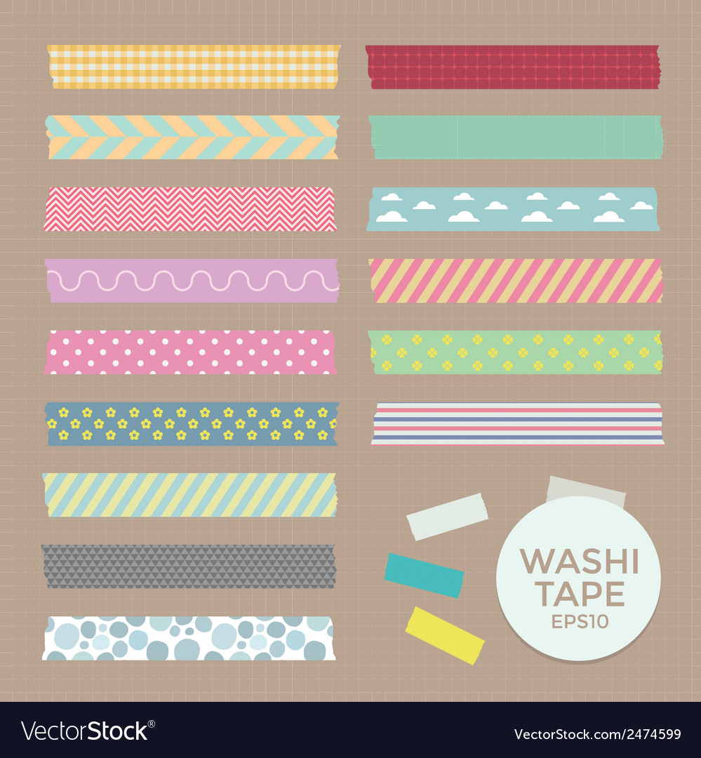 Collection of cute patterned washi tape vector