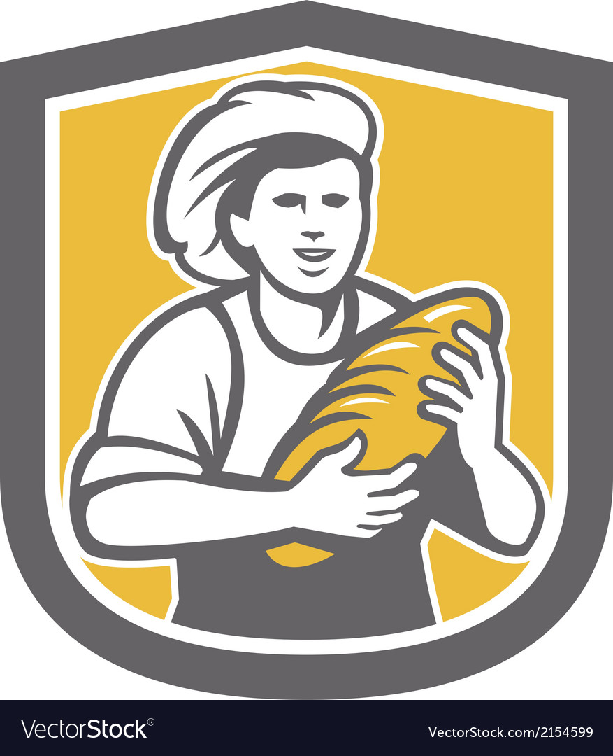 Female baker holding bread loaf shield vector | Price: 1 Credit (USD $1)