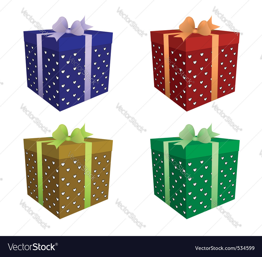 Four color gift boxes vector | Price: 1 Credit (USD $1)