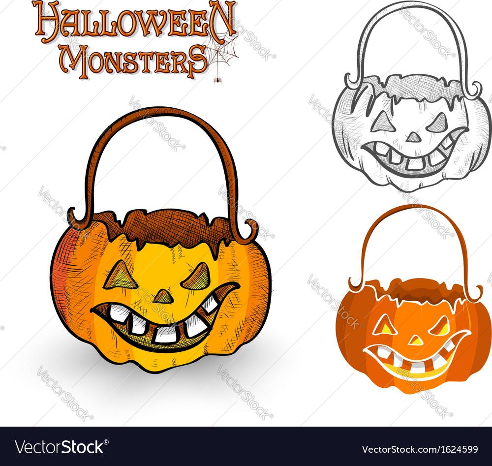 Halloween monster pumpkin lantern eps10 file vector | Price: 1 Credit (USD $1)