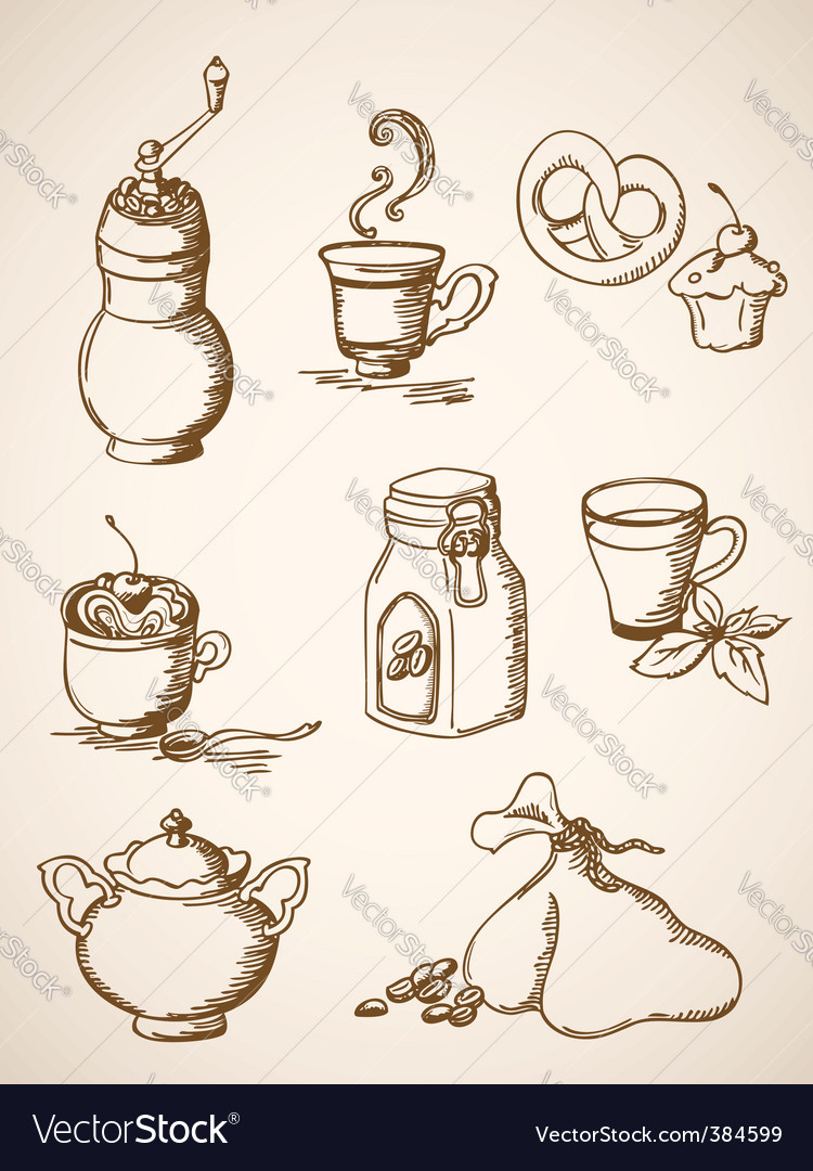 Hand drawn vintage coffee icons vector | Price: 1 Credit (USD $1)