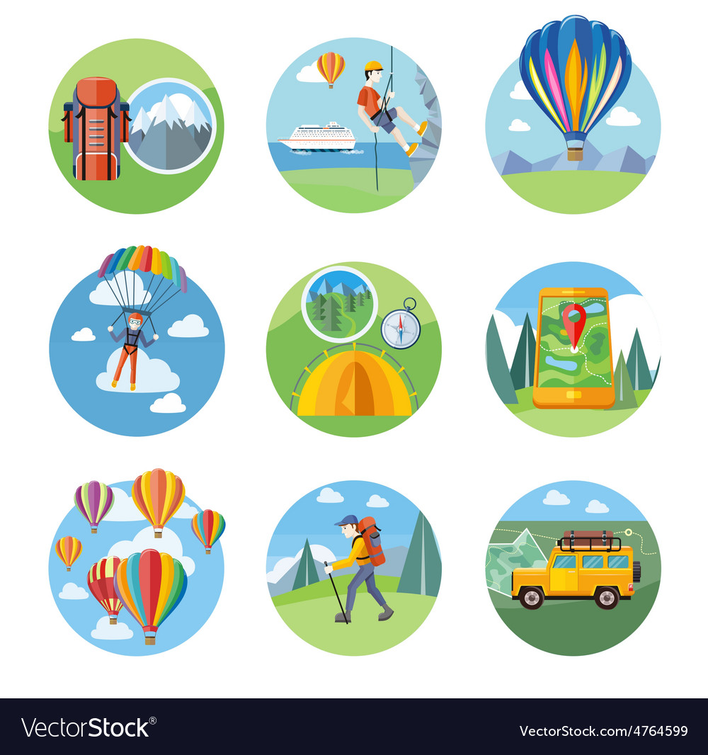 Hike expedition tourism parachuting ballooning vector | Price: 3 Credit (USD $3)