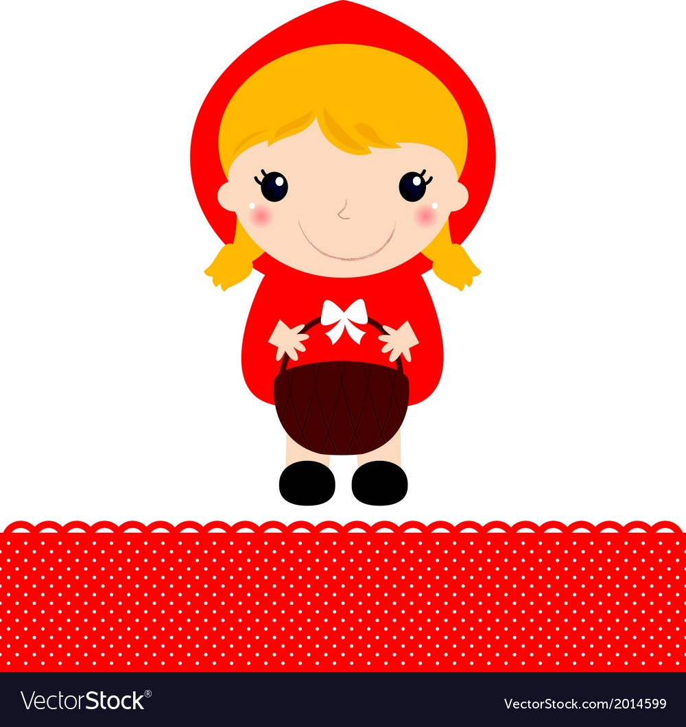 Little red riding hood with basket vector | Price: 1 Credit (USD $1)