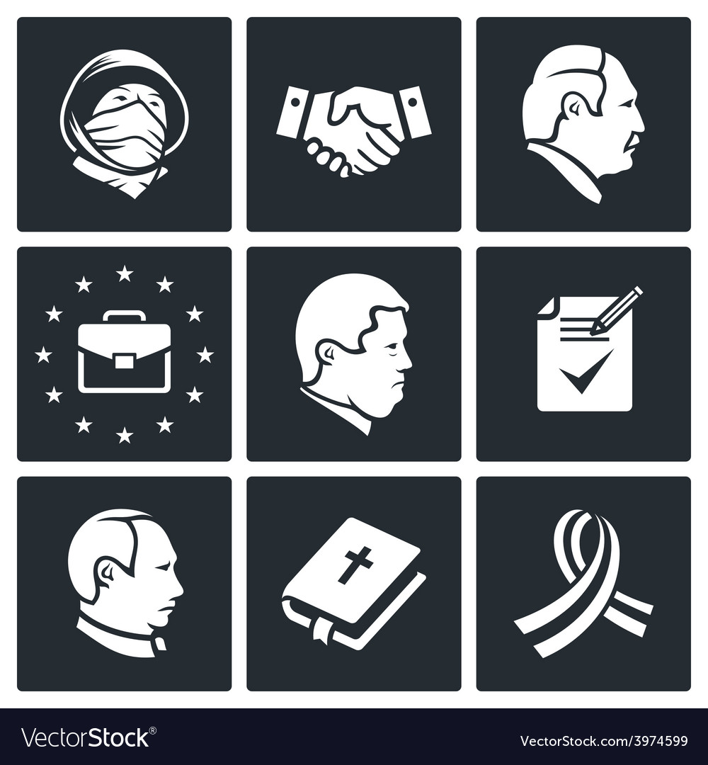 Minsk agreement icons set vector | Price: 1 Credit (USD $1)