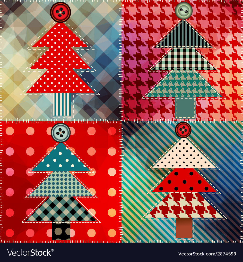 Patchwork with the christmas tree vector | Price: 1 Credit (USD $1)
