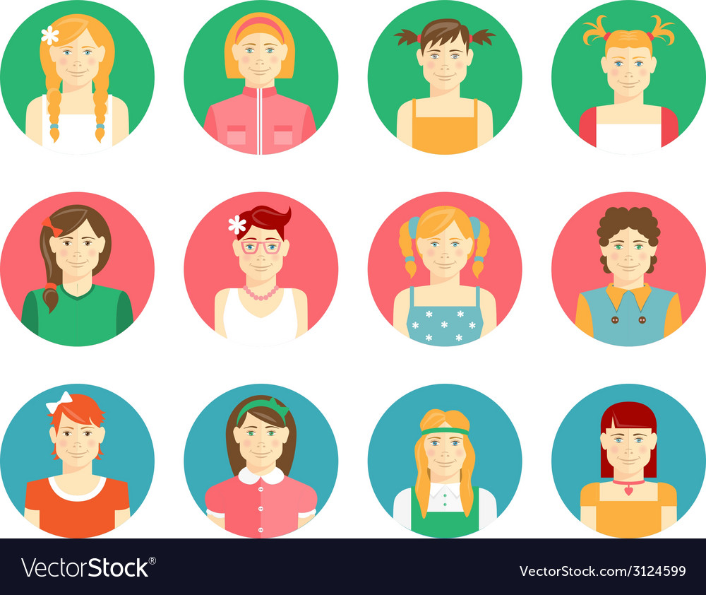 Set of girls and young women avatars vector | Price: 1 Credit (USD $1)