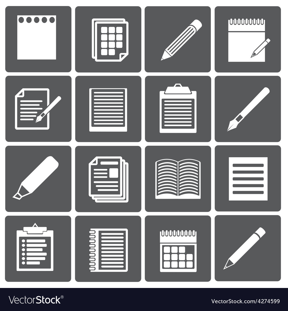 Set of paper documents and pencils icons vector | Price: 1 Credit (USD $1)