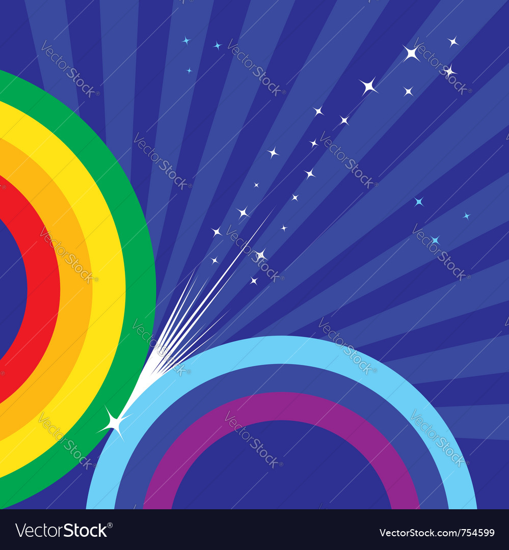 Sparkling rainbow makes stars over shiny blue sky vector | Price: 1 Credit (USD $1)