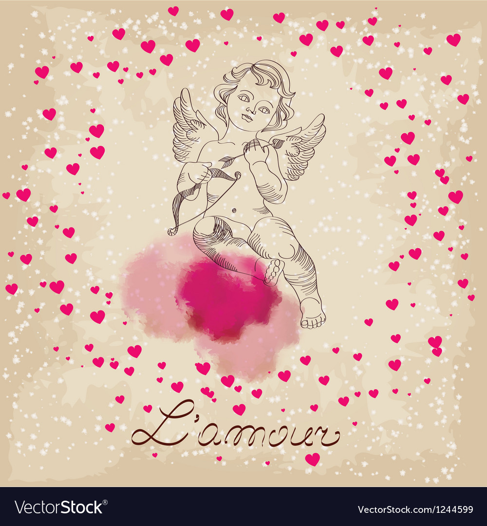 Valentines day amour with little pink hearts vector | Price: 1 Credit (USD $1)