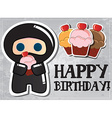 Happy birthday card with cute cartoon ninja vector