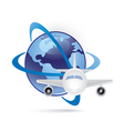World and plane icon vector