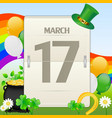 Saint patricks day calendar vector
