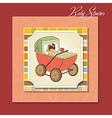 Baby girl shower card with retro strolller vector