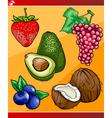 Fruits set cartoon vector