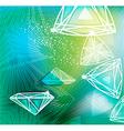 Abstract green background with linear diamonds vector