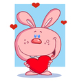 Loving pink bunny holding a heart vector