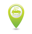 Auto service icon on green map pointer vector
