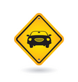Yellow sign with car vector