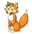 Cute fox sits on white background vector