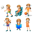 Different activities of a young lady vector