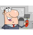 Caucasian businessman holding a ringing cell phone vector