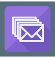 Four envelopes square flat icon with long shadow vector