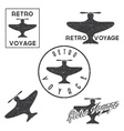 Set of vintage retro grunge aeronautics flight vector