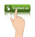 Hand push contact button vector