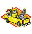Tow wrecker truck driver thumbs up vector