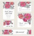 Wedding invitation set with vintage flowers vector