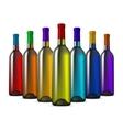 Color glass wine bottles vector