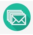 Four envelopes flat icon with long shadow vector