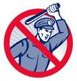 Police officer wielding truncheon vector
