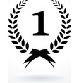 Black silhouette winner icon or number 1 sign with vector