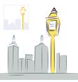 Retro street lantern and modern city skyline vector